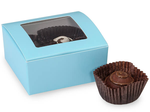 "Aqua Square Truffle Boxes Window 2-5/8x2-3/4x1-1/4"" Holds 4"
