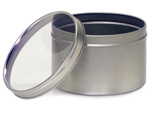 "Tin Can Favor Box with Window Lid, 3.75x2.25"", 6 Pack"