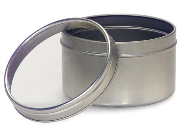 "Tin Can Favor Box with Window Lid, 3x2"", 6 Pack"