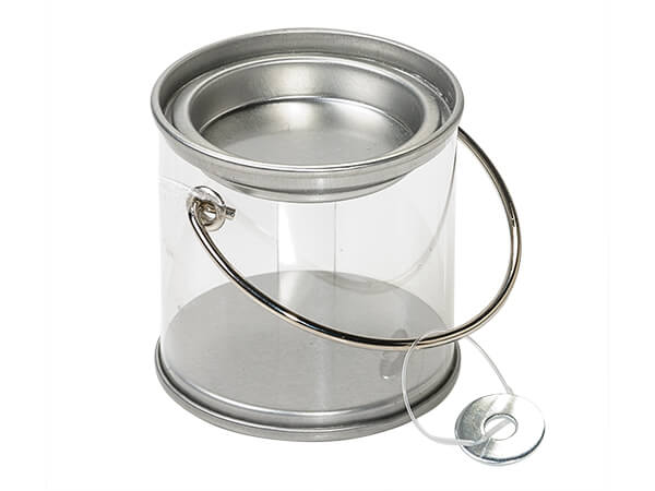 "*Clear Paint Can Pail with Handle, 2x2"", 6 Pack"