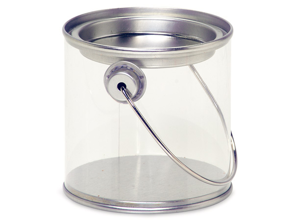 "Clear Paint Can Pail with Handle, 3x3"", 6 Pack"