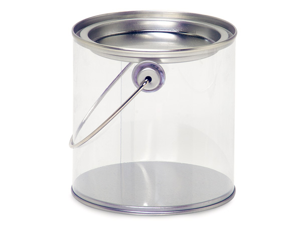 "Clear Paint Can Pail with Handle, 4x4"", 6 Pack"
