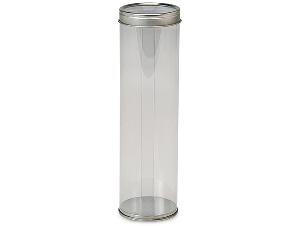 "Clear Tube Favor Box with Window Tin Lid and Base, 2x7"", 6 Pack"
