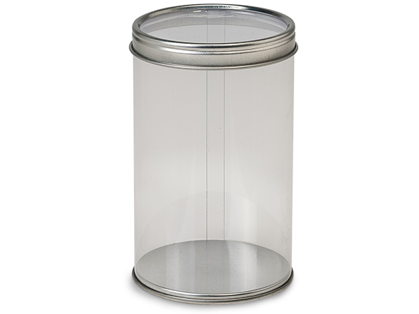 "*Clear Tube Favor Box with Window Tin Lid and Base, 2.75x4.5"", 6 Pack"