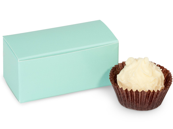 "Aqua Candy Truffle Boxes 2-5/8x1-5/16x1-1/4"" Holds 2"