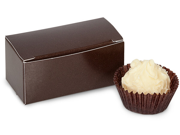 """Chocolate Candy Truffle Boxes 2-5/8x1-5/16x1-1/4"""" Holds 2"""