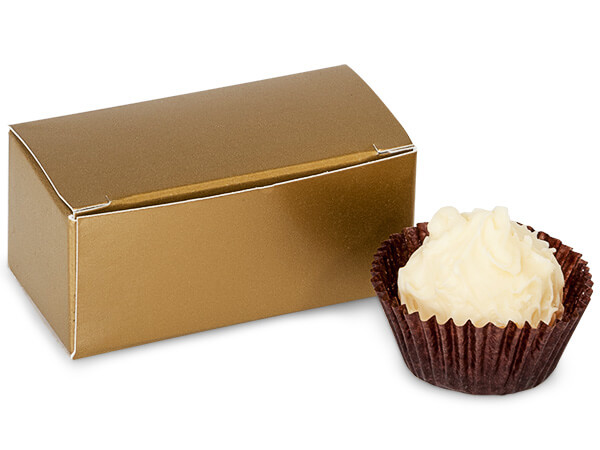 "Matte Gold Candy Truffle Boxes 2-5/8x1-5/16x1-1/4"" Holds 2"