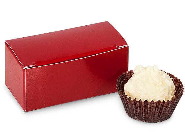 """Red Candy Truffle Boxes 2-5/8x1-5/16x1-1/4"""" Holds 2"""
