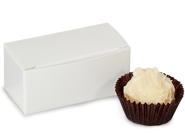 """White Candy Truffle Boxes 2-5/8x1-5/16x1-1/4"""" Holds 2"""