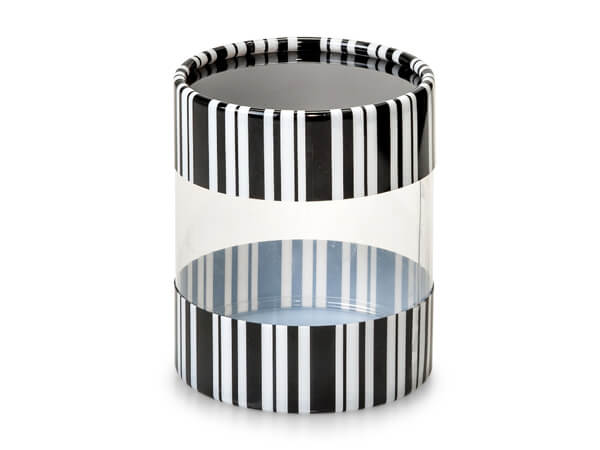"*Black and White Stripe Tube Favor Boxes, 2.75x3"", 6 Pack"