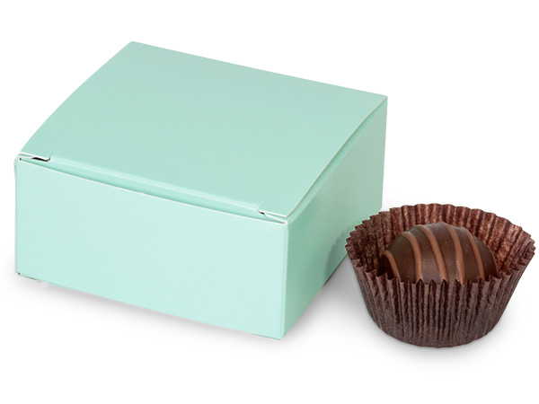 "Aqua Candy Truffle Boxes 2-5/8x2-3/4x1-1/4"" Holds 4"