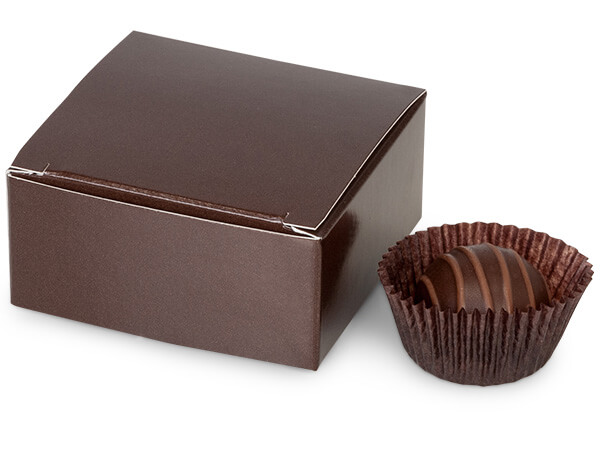 "Chocolate Candy Truffle Boxes 2-5/8x2-3/4x1-1/4"" Holds 4"