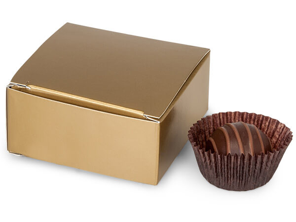 "Matte Gold Candy Truffle Boxes 2-5/8x2-3/4x1-1/4"" Holds 4"