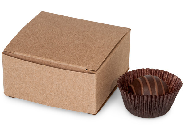 """Kraft Candy Truffle Boxes 2-5/8x2-3/4x1-1/4"""" Holds 4"""