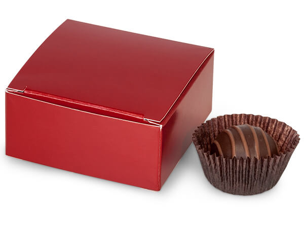 "Red Candy Truffle Boxes 2-5/8x2-3/4x1-1/4"" Holds 4"