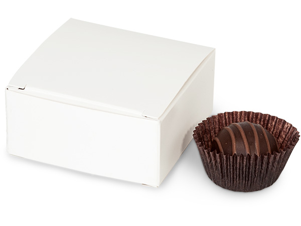 "White Candy Truffle Boxes 2-5/8x2-3/4x1-1/4"" Holds 4"