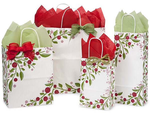 Tuscan Christmas Paper Shopping Bag Assortment 125 Pack