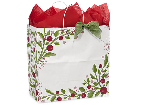 "Tuscan Christmas Paper Shopping Bags, Filly 13x7x13"", 250 Pack"