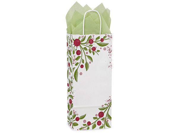 Wine Tuscan Christmas Paper Bags 250 5-1/2x3-1/4x13""