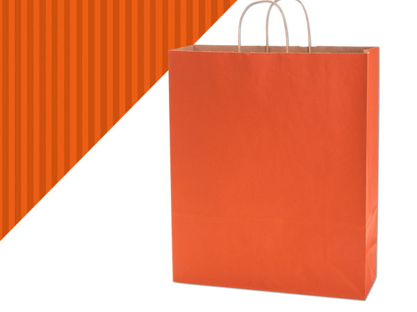 "*Terracotta Shadow Stripe Kraft Bag Queen 16x6x19.25"", 200 Pack"
