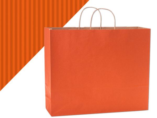 "Terracotta Shadow Stripe Kraft Bags Vogue 16x6x13"", 250 Pack"
