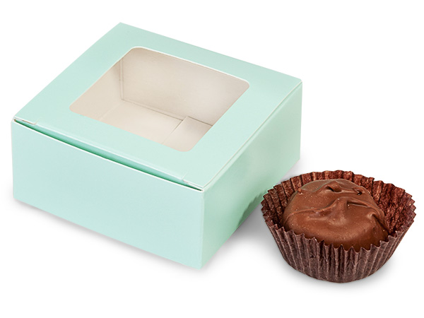 "Aqua Window Candy Truffle Boxes 2-5/8x2-3/4x1-1/4"" Holds 4"