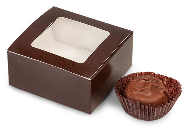 Chocolate Window Candy Truffle Boxes 2-5/8x2-3/4x1-1/4