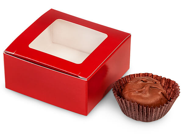 "Red Window Candy Truffle Boxes 2-5/8x2-3/4x1-1/4"" Holds 4"