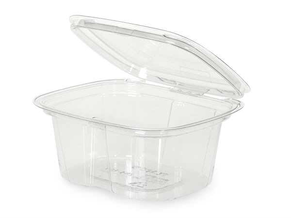 16oz Clear Tamper Evident Container Hinged, 210 Pack