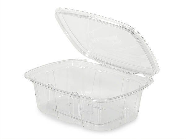 24oz Clear Tamper Evident Container Hinged, 164 Pack