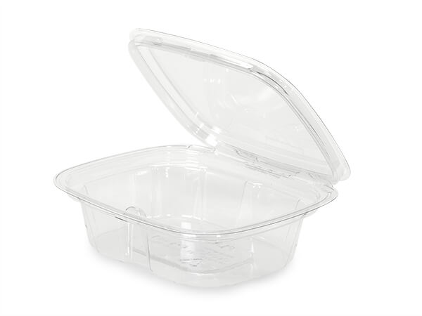 8oz Clear Tamper Evident Container, Hinged, 210 Pack