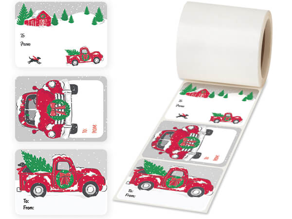 Tree Farm Christmas Truck Gift Tag Stickers