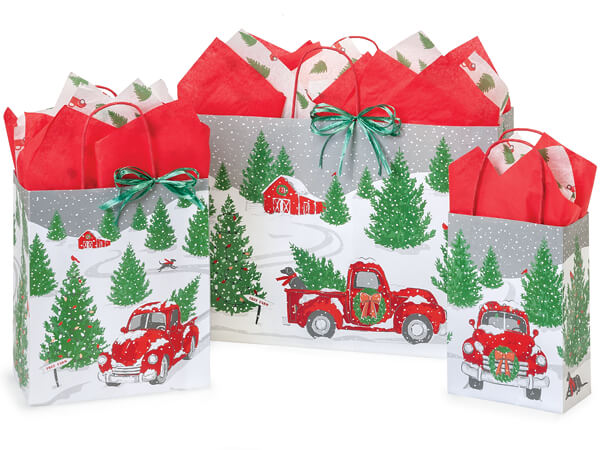 Tree Farm Red Truck Paper Shopping Bag Assortment, 125 Pack