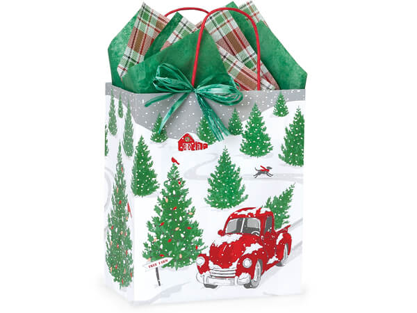 "Tree Farm Red Truck Paper Shopping Bags, Cub 8x4.75x10.25"", 250 Pack"