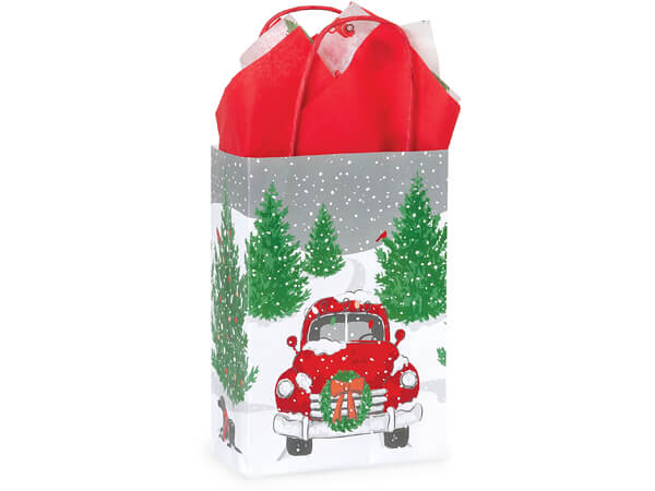 "Tree Farm Red Truck Paper Shopping Bags, Rose 5.5x3.25x8.5"", 250 Pack"