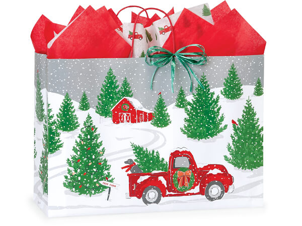 "Tree Farm Red Truck Paper Shopping Bags, Vogue 16x6x12"", 250 Pack"
