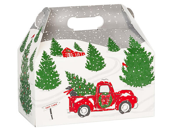 "Tree Farm Christmas Red Truck Gable Boxes, 9-1/2x5x5"", 6 Pack"