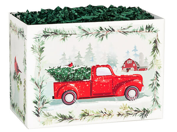 "Tree Farm Christmas Truck Basket Boxes, Large 10.25x6x7.5"", 6 Pack"