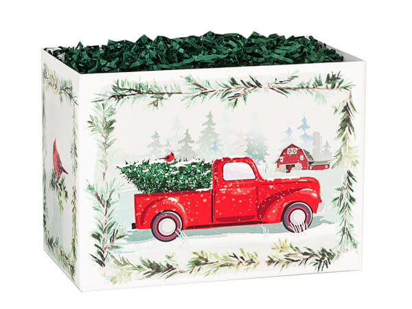 "Tree Farm Christmas Truck Basket Boxes, Small 6.75x4x5"", 6 Pack"