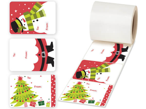 "Kid's Christmas Gift Tag Stickers, 3.5x2.5"", 3 Designs per Roll"