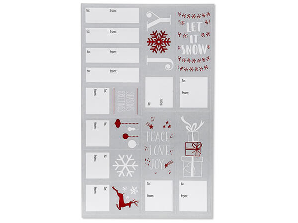 *120 Christmas Silver Icons To From Gift Labels