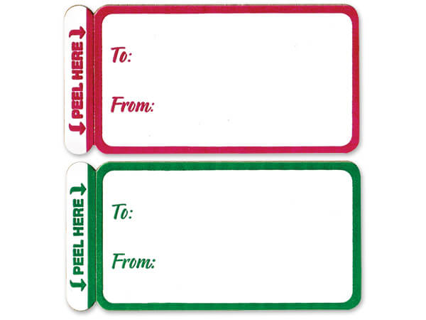*100 Red & Green To From Gift Labels ~50 Red 50 Green