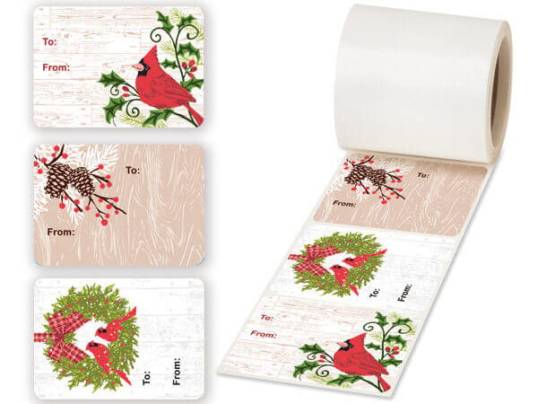 "Woodland Cardinal Gift Tag Stickers 3.5x2.5"", 3 Designs per Roll"