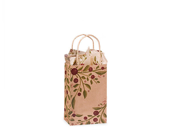 """Tuscan Harvest Recycled Kraft Paper Bags, Rose 5.5x3.25x8.5"""", 250 Pack"""