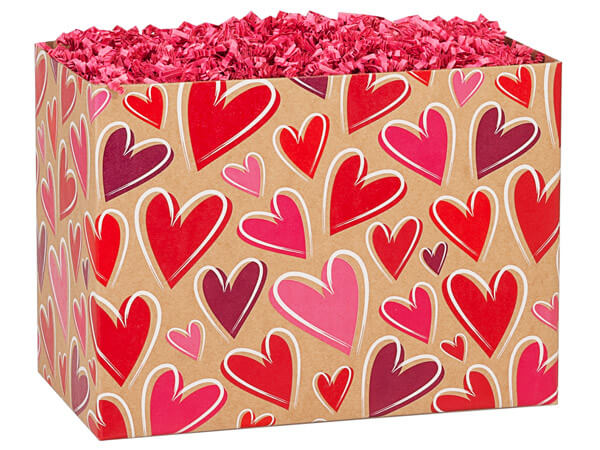 "*Tossed Hearts Kraft Basket Boxes, Large 10.25x6x7.5"", 6 Pack"