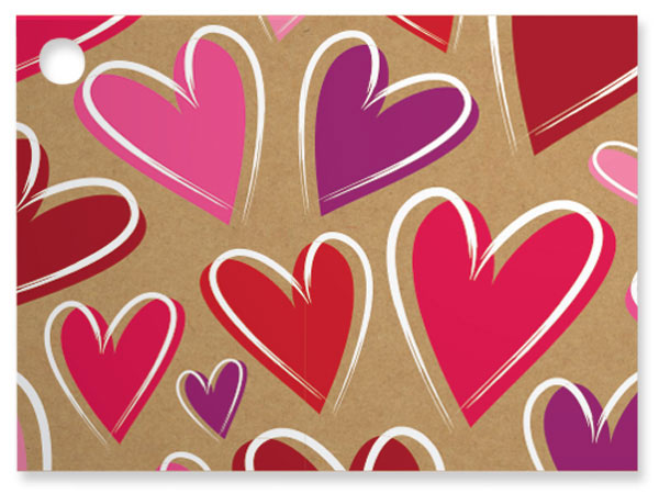 Tossed Hearts Kraft Theme Gift Cards, 3.75x2.75, 6 Pack