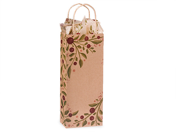 """Tuscan Harvest Recycled Kraft Paper Bags, Wine 5.5x3.25x13"""", 25 Pack"""