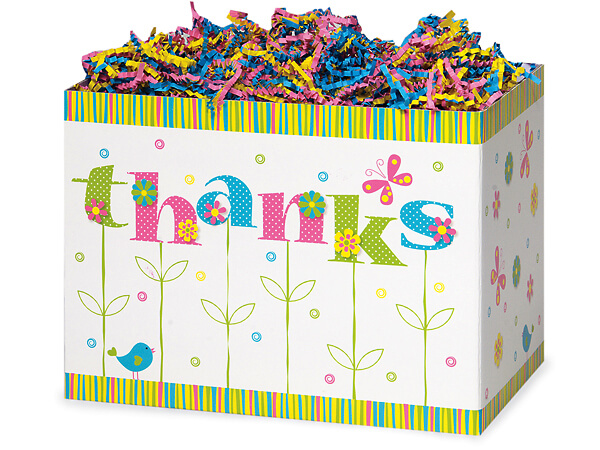 """Large Thanks In Bloom Basket Boxes 10-1/4x6x7-1/2"""""""