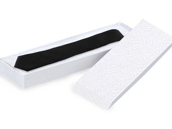 "White Embossed Swirl Tie Gift Boxes 14x4.5x.75"", 100 Pack"
