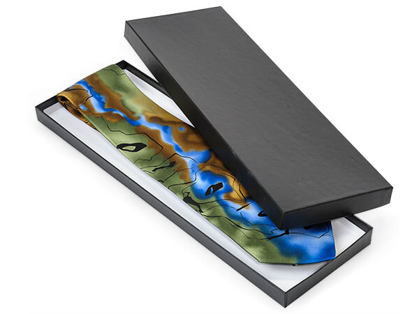 """Black Embossed Tie Gift Boxes, 14x4.5x.75"""", 100 Pack"""